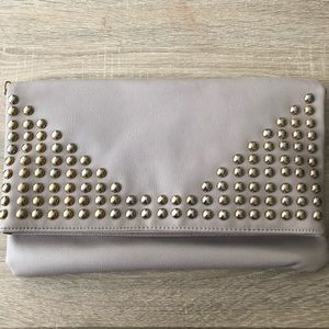 Cream Fold Over Purse with Gold Hardware